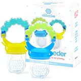 Baby Feeder for Boys 2 Pack, Grab n' Shake Rattle Teething Toy Set | Fresh Food-Fruit Silicone Feeder & Teether