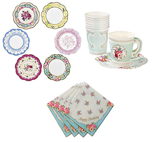 Talking Tables Truly Scrumptious Tea Party Bundle | Vintage Floral Paper Tea Cups and Saucer Sets 12 Count | Happy Birthday Floral Paper Napkins 20 Pack | Vintage Floral Small Paper Plates 12 Count -