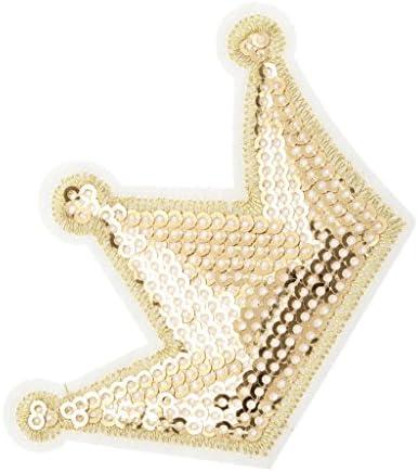 6ピース生地クラウンアップリケスパンコール縫う服バッグ刺繍パッチ - ゴールド