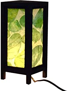 Green Nature Real Leaves Handmade Asian Oriental Wood Light Night Lamp Shade Table Desk Art Gift Home Vintage Bedroom Bedside Garden Living Room; Free Adapter; a Us 2 Pin Plug #439