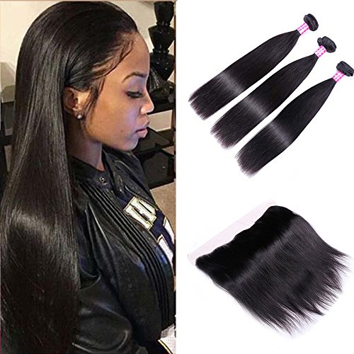 Sterly Brazilian Straight Hair 3 Bundles With Frontal Closure 13x4 Ear To Ear Lace Frontal With Bundles Unprocessed Virgin Human Hair Extensions Natural Color (12 14 16 +10) by Sterly