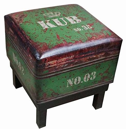 (NACH FJ-14-1040G Square Faux Leather Stool/Ottoman, Green)