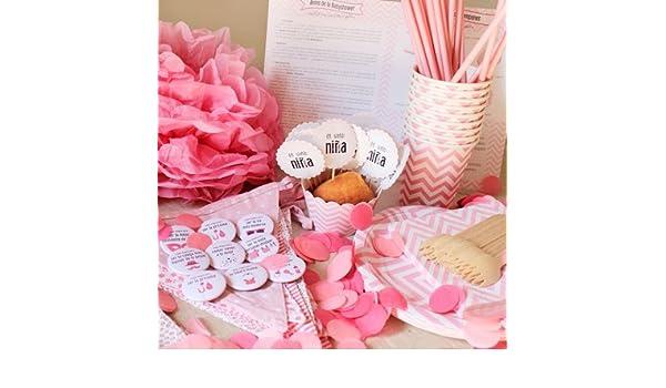 Baby Shower fiesta Niña - Incluye un pack completo para menú de 12 invitados + listado de juegos e ideas originales para la celebración: Amazon.es: Bebé