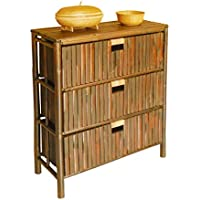 Hand Crafted 3 Drawer Chest with Basket Storage Made of Bamboo Wood in Espresso Finish 31 H x 28 W x 12 D in.