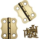 Decorative 90° Stop Hinges, Brass, Pair
