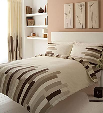 Reversible Brown Texture Stripe Luxury Duvet Covers Quilt Cover Bedding Sets