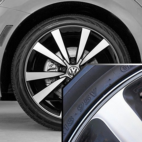 Upgrade Your Auto Volkswagen GTI Wheel Bands Silver in Black Pinstripe Edge Trim for 13-22' Rims