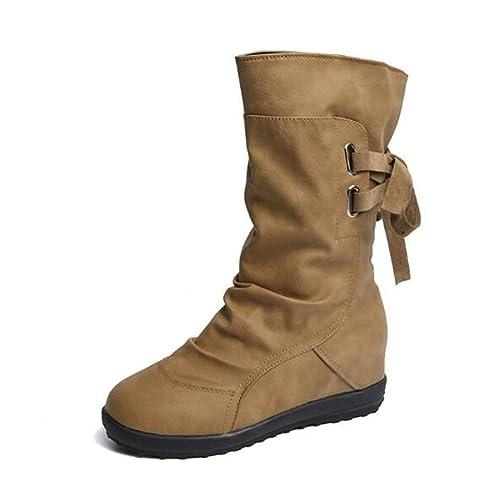 más fotos 47ade 05459 Botines Mujer Invierno Otoño Motorista Hebilla Botas Planos Tobillo Cuña  Calzado Casual Zapatos con Tacon Aumento 3cm Negro Marrón Gris Talla 34-43
