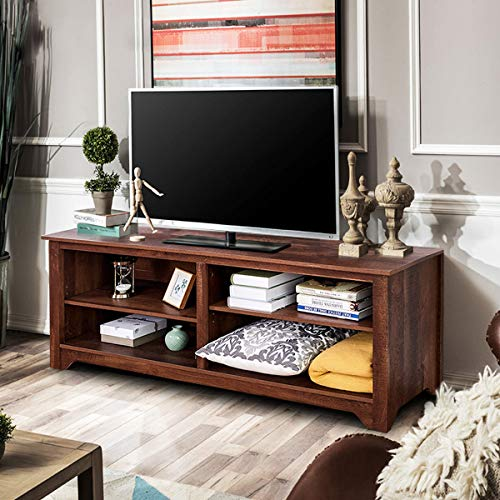 "Tangkula 58"" TV Stand Modern Home Furniture Living Room Wood Storage Console Entertainment Center for TV up to 60"