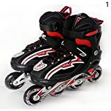 Gracefulvara Teenagers Ice Skate Roller Skating Shoes with Adjustable Washable PU Wheels