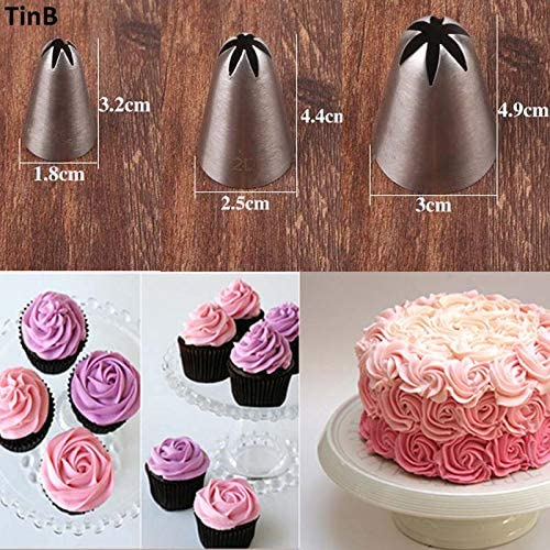 3Pc Russian Flower Cake Decor Icing Cream Piping Nozzles Pastry Tips Baking Tool