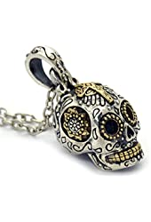 Women's Sterling Silver Sugar Skull Necklace Pendant Jewelry (Small)