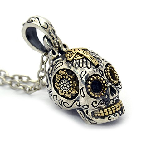 (Women's Sterling Silver Sugar Skull Necklace Pendant Jewelry (Small))