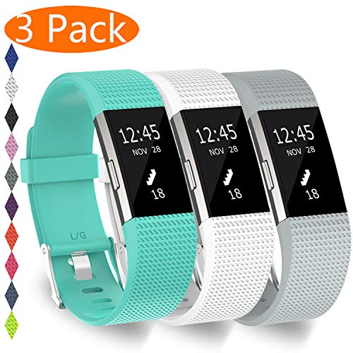 KingAcc Compatible Fitbit Charge 2 Bands, Soft Silicone Replacement Band for Fitbit Charge 2, Metal Buckle Fitness Wristband, 3-Pack Sport Strap for Women Men,(White&Lakeblue&LightGray, Small)