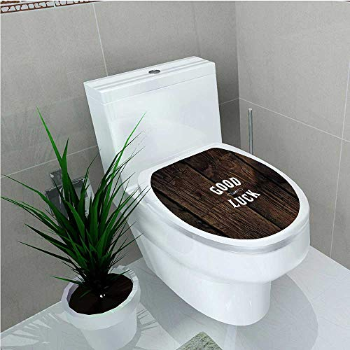 aolankaili Bathroom Toilet seat Sticker Decal Party Wild West Styled Good Luck Message on Wooden Board Wish Dark W13 x - Sticker Luck Own Make Your