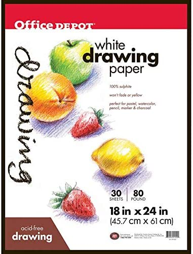 193140-11980 18in 24 Sheets x 24in Office Depot Art Drawing Pad