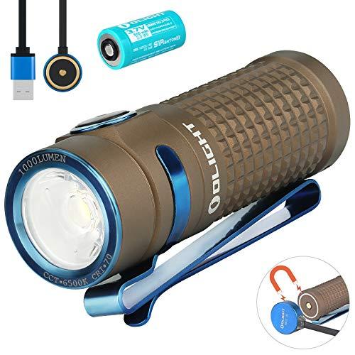 Olight S1R II Baton – Linterna pequeña de 1000 lúmenes/138 metros CW LED, compacta, con interruptor lateral recargable…