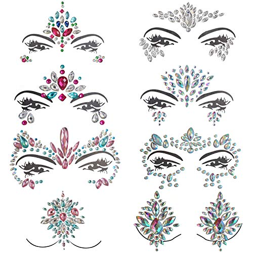 Inifty 8 Sets Women Rhinestone Mermaid Face & Breast Jewels Tattoos, Body Sticker Crystal Tears Gem Stones Bindi Temporary Stickers (Style ()