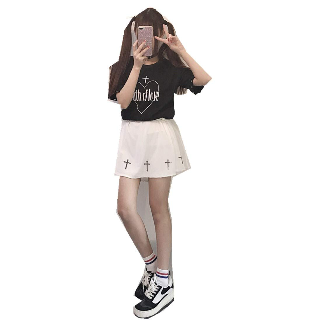 Japanese Soft Sister Love Cross Strap Short-Sleeved T-Shirt + Skirt Two-Piece