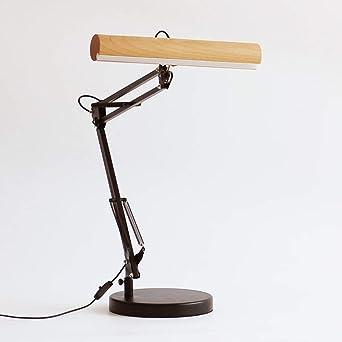 Lámpara de mesa telescópica ajustable de madera maciza con lámpara ...