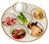 Round Glass Seder Tray with 6 Removable Bowls