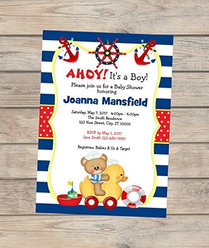 Amazon Nautical Baby Shower Invitation Custom Sailor
