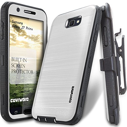 COVRWARE Iron Tank Compatible with Galaxy J7 Prime/J7 Sky Pro/J7 Perx/J7 V 2017/J7 2017 Full-Body Holster Armor Case Brush Metal Texture Design Built-in Screen Protector, Belt-Clip, Kickstand, White