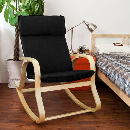 SoBuy Wood Relaxing Rocking Chair,Gliders,Lounge Chair with Cotton Cushion, FST15-SCH (Rocker Covers Cushion Glider)