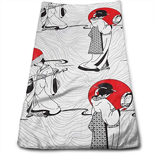 SWATMOGI Japanese Geisha Girl Face Towel,Hand Towel,Kitchen Towels-Dish 3D Design Pattern Towel,Towels for The Kitchen,Cleaning,Cooking,Baking,Dishwashing Towel 12x27.5in