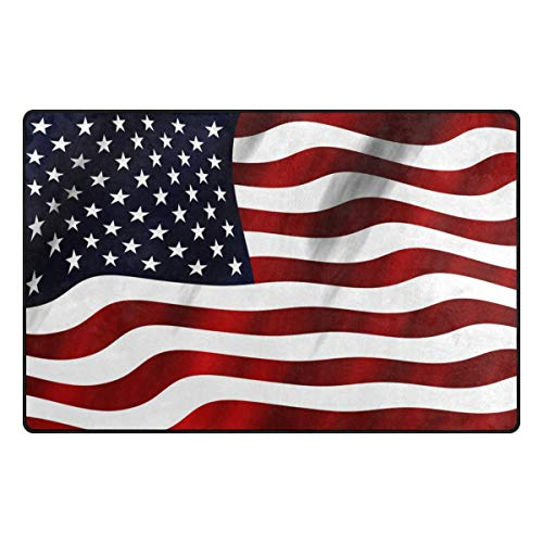 American USA Flag Non Slip Area Rug Memory Foam Mat Indoor Doormat Rug for Chair Office and Home Decorative Floor 31x20 or 60x39 inch - Flowers Usa Heys