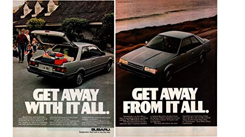 "Magazine Print ad: 1986 Subaru 3 Door Hatchback,""Get Away From It All. Get Away With it All"""