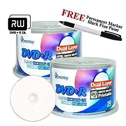 Smartbuy 100-disc 8.5GB/240min 8x DVD+R DL White Inkjet Hub Printable Blank Media Disc + Black Permanent Marker