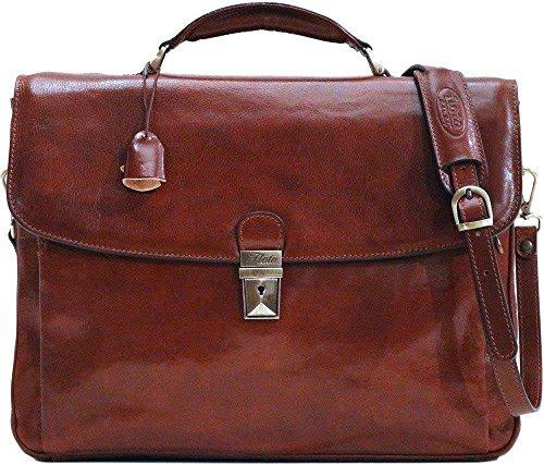 Floto Firenze Laptop Briefcase in Vecchio Brown by Floto