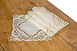 Xia Home Fashions Dainty Lace Square Doily, 8-Inch, Ivory, Set of 4