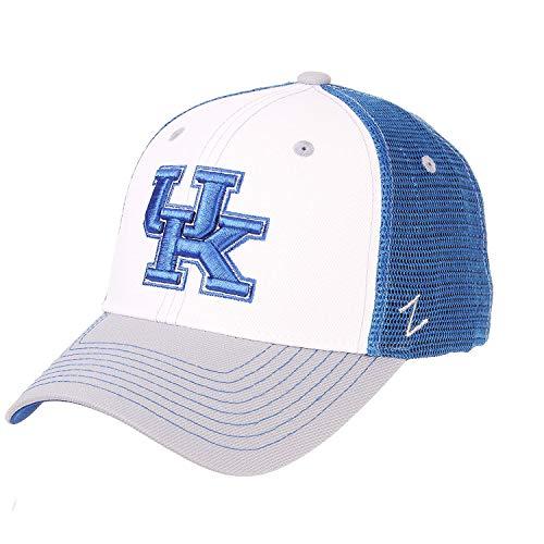 (University of Kentucky UK Wildcats Threepeat White Grey Blue Soft Mesh Top Trucker Mens/Womens State Flag Baseball Hat Size Adjustable )
