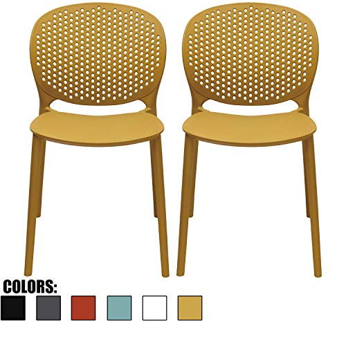 2xhome – Set of 2 – Dining Room Chairs – Plastic Chair with Backs Designer Chair Modern Chair Indoor Outdoor Light Weight Armless Chair – Matte Finish (Yellow)