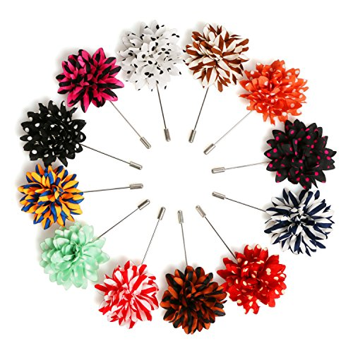Landisun Men's Lapel Pin Flower Boutonniere Set Handmade For Suits (1 Dozen, Style 4) (Flower 1)