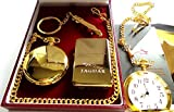The British Gold Company 24K Gold Jaguar Keyring Pocket Watch And Lighter Set In Luxury Case Luxurious Car Accessoriies
