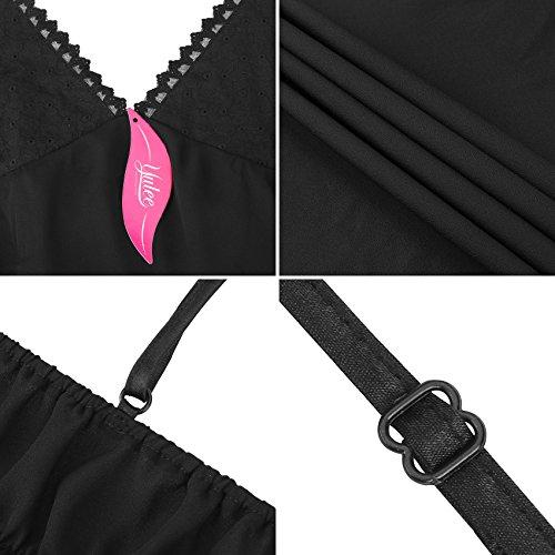 Chiffon Donne Da A Letto Yulee Black Camicia Integrali In Maniche Lunghe Indumenti Y8awx7n