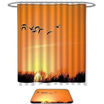 QINYAN Home Shower Curtain Set Flying Birds Decor Bird Migration Over Desert Autumn View At