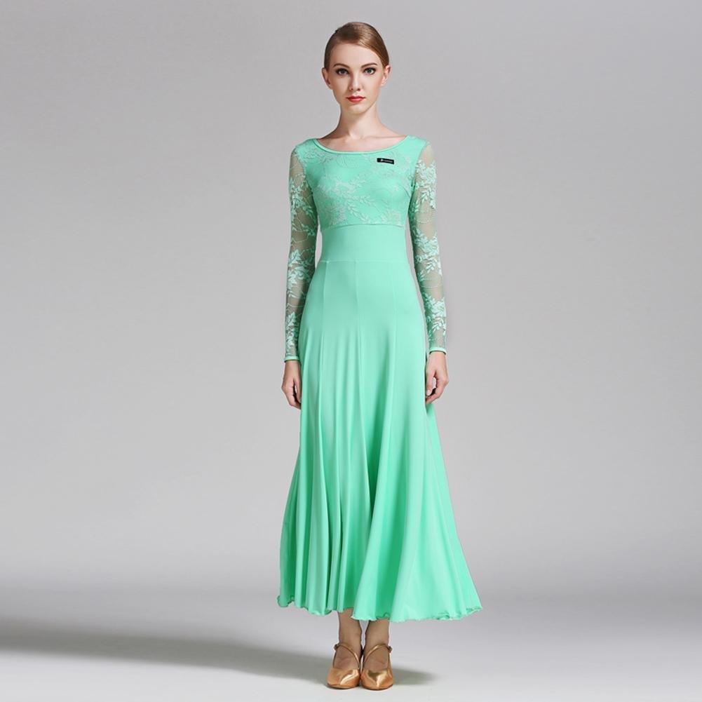 Vert Femmes Fibre de Lait Robes de Danse de Salon épissure de Dentelle Manches Longues Robe de Perforhommece L