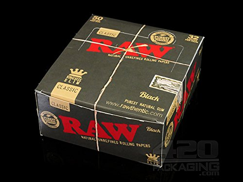RAW Black Natural Unrefined King Size Slim Rolling Papers - Raw Black