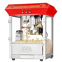 Great Northern Popcorn Red Roosevelt Antique Style Popcorn Popper Machine with 8-Ounce Kettle