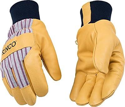Kinco 1927KW-L-1 Premium grain pigskin palm, OttoTM striped fabric back, Snug 100% polyester knit wrist to retain warmth, Heatkeep lining, Size: L