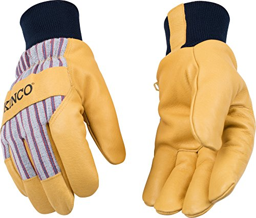 - KINCO 1927KW-XXL Men's Lined Grain Pigskin Gloves, Heat Keep Lining, Knit Wrist, XX-Large, Golden