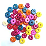 Wood Donut Beads Assorted Colors 9.5 mm - Pack Of 182