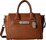 COACH Women's Pebbled Leather Coach Swagger 27 Silver/Saddle Satchel
