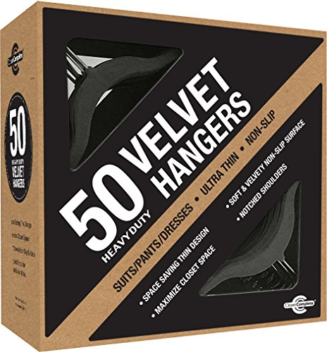 Closet Complete Ultra Thin Heavy Duty No Slip Velvet Suit Hangers, Black, Set of 50
