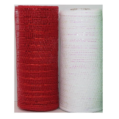 Decorative Mesh - Christmas Decorative Mesh Rolls for Crafting Wreaths, Centerpieces, Displays, Table Drape and More, 5 Yards (2 Rolls, Red and White with Metallic Strands)