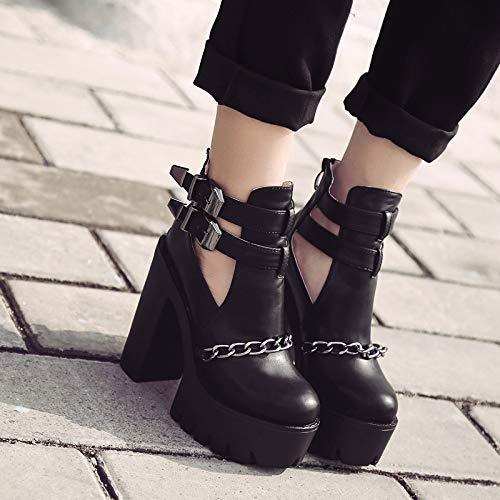 black Otoño AJUNR Gruesos Cierre Cabeza y Botas 14cm Altos Mujer de Salvaje llevaban de Cremallera Tacones Redonda Transpirable Zapatos ww5U4r